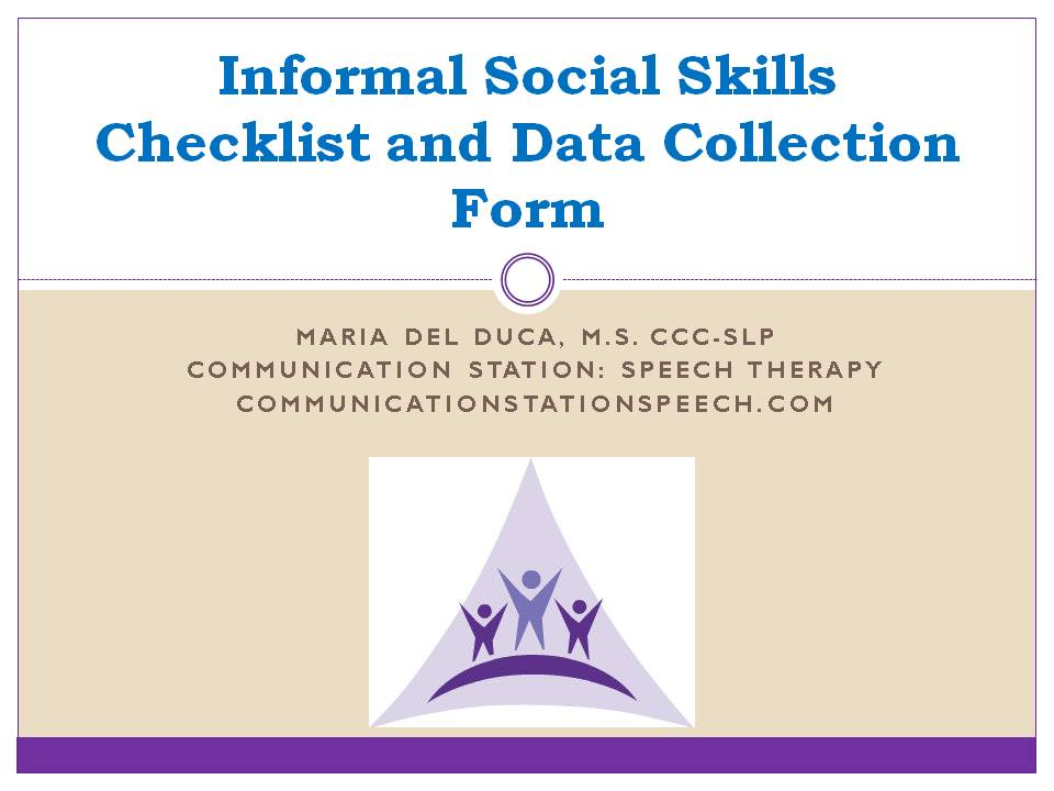 Informal Social Skills Checklist and Data Form - Communication ...