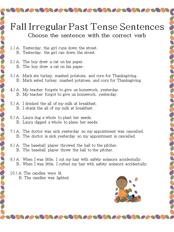 Fall Irregular Past Tense Verb sentences