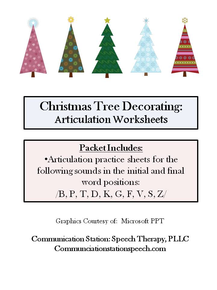 FREEBIE Friday Christmas Tree Decorating Articulation Worksheets – Free Articulation Worksheets