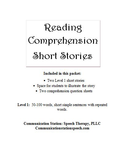 FREEBIE Friday: Reading Comprehension Short Stories Level 1 ...
