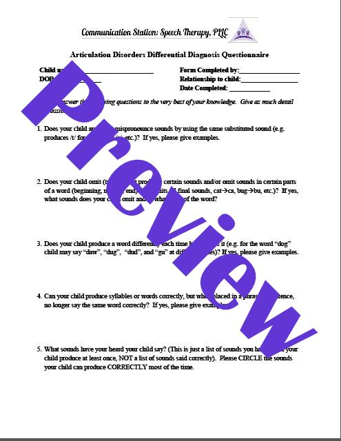 Articulation Disorders DD questionnaire pic 1 preview