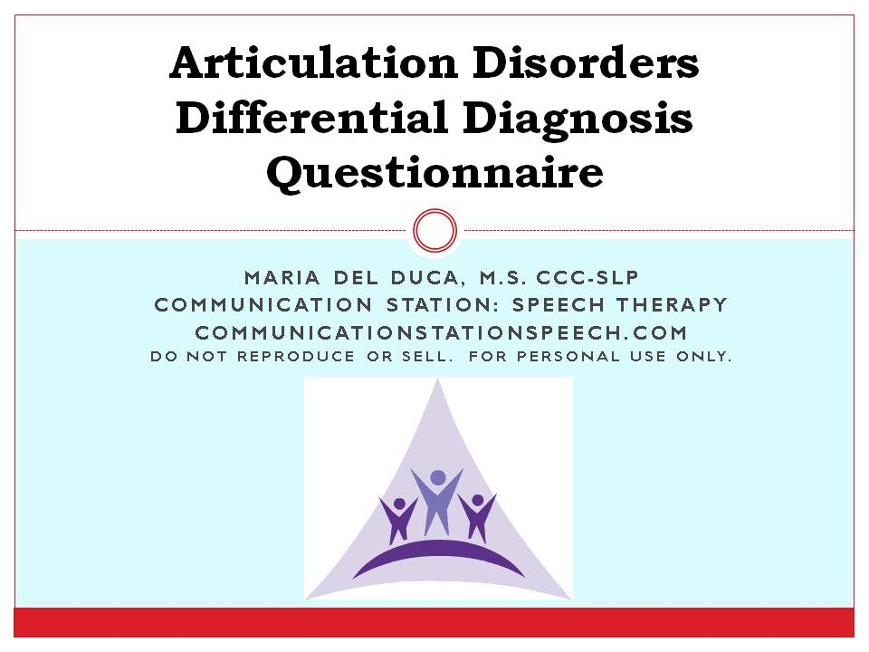 Articulation Disorders Differential Diagnosis Questionnaire