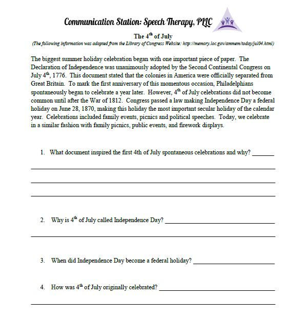 4th of July reading comprehension sheet