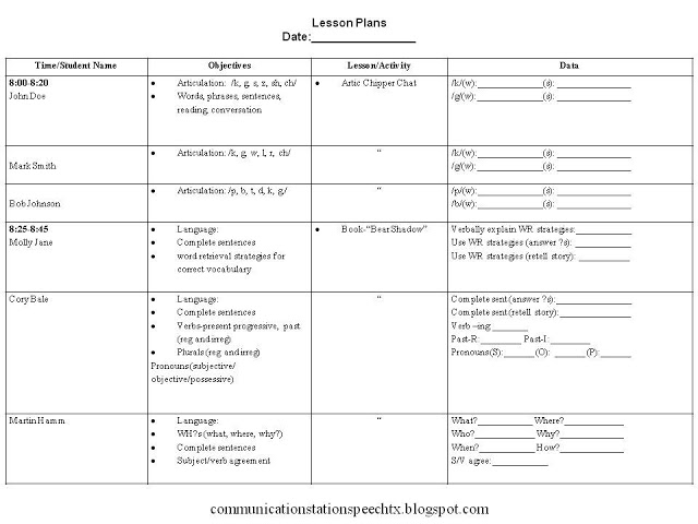 Frenzied slps simplify your lesson plans communication for Nursing lesson plan template